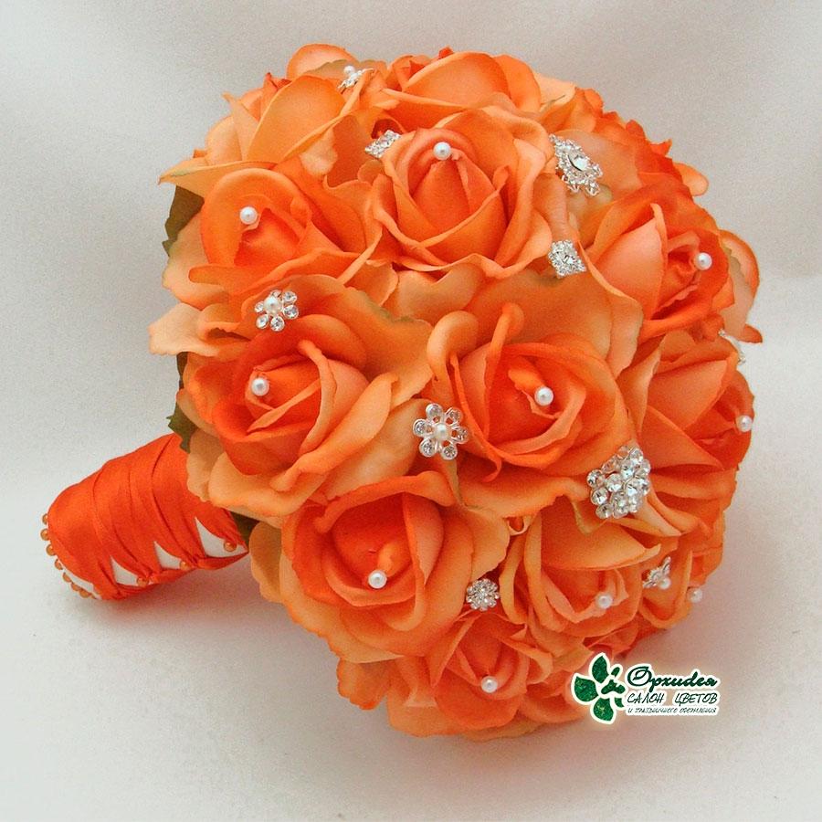 свадебный букет из оранжевых цветов