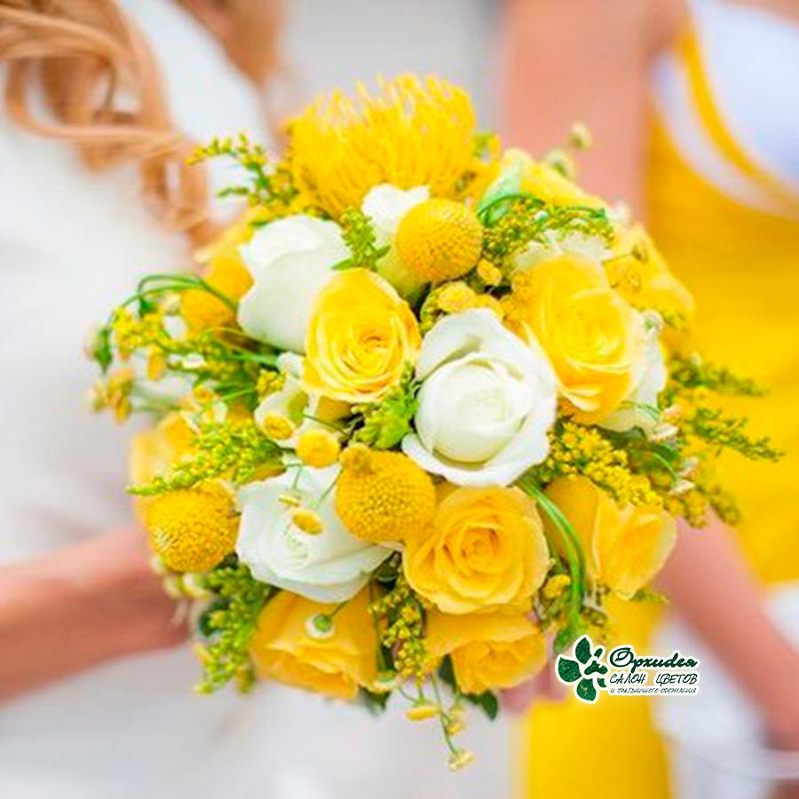 букет невесты из желтых цветов